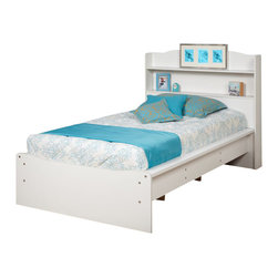 Prepac - Prepac Aspen White Twin Platform Bed w/ Bookcase Headboard - Get storage, a bed and a headboard all in one with the Aspen Twin Platform Bed with Integrated Headboard. With its gentle curves, this bed is perfect for a child's room. The bookcase-style headboard offers two 5 inch deep shelves, ideal for toys, photos and other bedside essentials. For even more storage, look to the openings underneath the bed and stow away boxes and totes. Wooden slats provide support for a twin-sized mattress and eliminate the need for a boxspring. Sides are finished with sturdy 3.5 inch wide MDF rails.