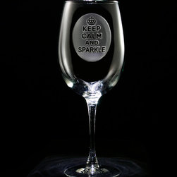 """Crystal Imagery, Inc - Keep Calm and Sparkle Wine Glass Set of Stemware - Keep Calm and Sparkle Wine Glass Our Keep Calm and Sparkle wine glass is engraved with a regal crown atop the popular """"Keep Calm and Sparkle"""" phrase on your favorite engraved barware collection that makes a perfect gift for woman at Mother's Day, Valentine's Day, Christmas, graduation, retirement, job promotion or anyt special occasion. Why not consider this beautiful custom engraved wine glass for bridesmaids or your Maid of Honor? Our master artisans deeply carve out the background of the wine glass design to leave the crown and Keep Calm and Sparkle sentiment raised from the glass surface in a stunning 3 dimensional manner. Our wine glass measures 9"""" High x 3.5"""" wide and holds 19 oz. of your favorite vino. Dishwasher safe. SOLD AS A SET OF 4 WINE GLASSES."""