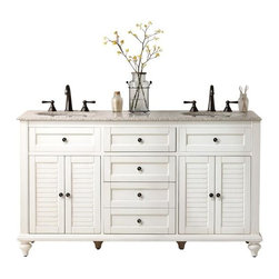 Home Decorators Collection - Hamilton Shutter Double Vanity - This 61-inch double vanity comes with a granite top and is available in two different colors: distressed white (shown here) and gray. I love the shutter-style doors and turned feet.