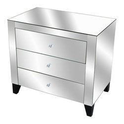 """Crestview - Crestview CVFZR046 Fletcher Chest - Fletcher Chest Mirrored 3-Drawer Chest w/Clear Drawer Pulls, Black Legs END OF MAY DELIVERY 30""""W x 18""""D x 27""""Ht."""