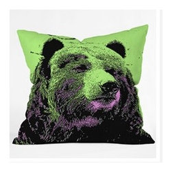 "DENY Designs - Romi Vega Bear Throw Pillow - Wanna transform a serious room into a fun, inviting space? Looking to complete a room full of solids with a unique print? Need to add a pop of color to your dull, lackluster space? Accomplish all of the above with one simple, yet powerful home accessory we like to call the DENY Throw Pillow! Features: -Romi Vega collection. -Color: Print. -Material: Woven polyester. -Sealed closure. -Spot treatment with mild detergent. -Made in the USA. -Closure: Concealed zipper with bun insert. -Small dimensions: 16"" H x 16"" W x 4"" D. -Medium dimensions: 18"" H x 18"" W x 5"" D. -Large dimensions: 20"" H x 20"" W x 6"" D. -Product weight: 3 lbs."