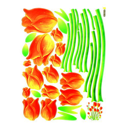 Blancho Bedding - Enthusiasm Of Tulips - Wall Decals Stickers Appliques Home Decor - The decals are made of a high quality, waterproof, and durable vinyl and will stick to any smooth surface such as walls, doors, glass, cabinets, appliances, etc. You can add your own unique style in minutes! This decal is a perfect gift for friend or family who enjoy decorating their homes. Imaginative art for you and won't damage your walls! Without much effort and cost you can decorate and style your home. Quick and easy to apply~!!!