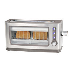 Kalorik - See-through Toaster - Perfectly golden toast can be elusive, but not with this see-through toaster. Not only would you never have to scrape off a burnt edge again, but you'll also get a little morning entertainment by watching your meal brown.