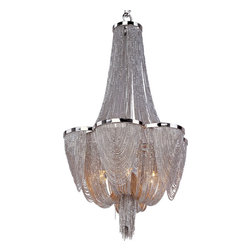 Maxim Lighting - Maxim Lighting 21464NKPN Chantilly 6-Light Single-Tier Chandelier - Chantilly collection features metal frames gracefully draped with Nickel finished jewelry chain. Metal trim rings of Polished Nickel add sharp contrast to the softness of the chain, which conceals the xenon light source.