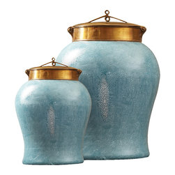 Kathy Kuo Home - Turquoise Shagreen Asian Porcelain Bronze Lidded Tea Jar - Small - The muted beauty of this perfectly pint-sized turquoise Asian shagreen tea jar is easy to envision in your global bazaar style home.  Use in your kitchen for a colorful contrast that goes with anything, or place on the wooden bookshelf in your modern loft's living room to keep important papers or treasures out of sight.