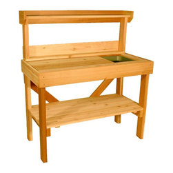 Cedar Wood Potting Bench with Sink - I saw this and almost started drooling. I've always wanted a workspace like this. The simple cedar construction means it will continue to look good through the elements and the and use. It's also a great way to get organized and make sure your workspace functions AND looks great.