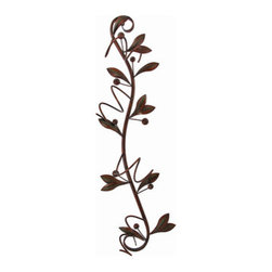 35 Inch Vertical Olive Branch Metal Wine Holder Wall Mount - This beautiful 35 inch high wall mounted metal wine bottle holder is shaped like an olive branch, complete with olives. The holder has a wonderful copper and black enamel finish that adds warmth to kitchens, dining rooms and dens. It hold 4 wine bottles. The complete dimensions are 35 inches tall, 10 inches wide and 5 inches deep. It hangs on the wall with a single nail or picture hanger. This incredible piece makes a great housewarming present. We have a very limited supply of these, so don`t miss out. Get yours now!