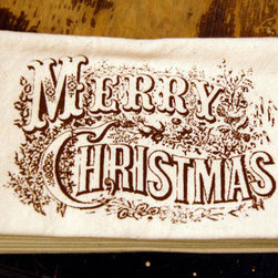 Cloth Dinner Napkin Merry Christmas Currier and Ives by Hellbox - I love these antique-looking cloth dinner napkins.