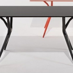 "Kartell - Spoon Dining Table - Spoon Table is a folding light office table characterised by its extreme lightness and practicality. The structural surface is made of honeycomb aluminium and is only 15 mm thick. The finish is white laminate whereas the methacrylate edges are coloured on the bottom so that the transparency creates a sense of depth. The thermoplastic legs are a guarantee of resistance and elasticity. The knee mechanism closing was developed for easy folding of the top and makes the Spoon Table perfect for living in small spaces and easy carrying. The leg-locking system requires no tools and works using only a slider eyelet. The Spoon Table comes in three sizes of top and with legs and matching edges in three colours. Features at a Glance: Spoon Table Features: -Tabletop is made of honeycomb aluminium and melamine laminate. -Legs are made of batch-dyed modified polypropylene. -Made in Italy. Small Spoon Table Dimensions: -28.37"" H x 55.12"" W x 28"" D. Medium Spoon Table Dimensions: -28.37"" H x 63"" W x 32"" D. Large Spoon Table Dimensions: -28.37"" H x 78.74"" W x 35"" D. Quality: -In 2005, Kartell received accreditation for its Quality Management Systems according to the ISO 9001: 2000 standard. The attainment and preservation of this certification testifies to Kartell's commitment to high quality and continued research into higher levels of quality in company management systems.. Helping the Environment: -Kartell products use a wide variety of plastic materials, thereby reducing the use of living organisms, such as trees, which are difficult and time-consuming to replace.. -Most Kartell products are easily recycled and product components can be separated to elements made of a single material to simplify the recycling process. Plastic components also carry clear identification marks to aid correct separation of different plastic types for effective recycling.. Care and Maintenance: -Kartell products are easy to clean and require only simple care to remain in excellent condition. target=""_blank"">here for specific information on the proper cleaning and use of Kartell materials.. Order with Confidence: -Authentic Kartell products are guaranteed to be free from defects in materials and workmanship for a period of 12 months under normal use and under conditions for which the items were designated.. -Should you discover shortly after receiving your Spoon Table that parts are either damaged or missing, please call us immediately, and we will be happy to send you replacement parts as soon as possible and at no additional cost.."