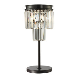 Elk Lighting - Palacial 1-Light Table Lamp in Oil Rubbed Bronze - The Palacial Collection features a cascade of prismatic crystals suspended from an oil rubbed bronze frame. Each of the crystal's thick triangular profile bend light into various angles enhancing its visual depth and beauty.