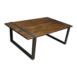 Reclaimed Wood Coffee Table - Great looking, simple lines on this coffee table made from distressed, reclaimed wood and iron. It is hard to beat the texture and patina you get from reclaimed materials, they add such depth to a room.