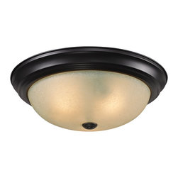 Z-Lite - Z-Lite Athena Ceiling Light X-3F4112 - This three light Ceiling Light fixture is comprised of an elegant bronze finish and paired with amber tea stained glass shade. Along with its simple detailing, this fixture makes a chic addition to any room.