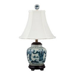 Oriental Danny - Blue and white table lamp - This smaller blue and white lamp is great for smaller space that does not need a big lamp. Under shelves, book cases, hallway, bathrooms, etc.... Dressed with silk lamp shade. 60 watts, 3 way switch, UL listed.