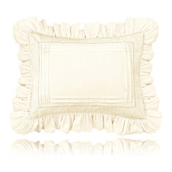 Pine Cone Hill - louisa ivory pillow (28x37) - A dressed-up version of a cotton boudoir pillow, with appliqued strips and embroidered detailing at the hem. 3-in. ruffle, envelope closure.��This item comes in��ivory.��This item size is��37w 28h.