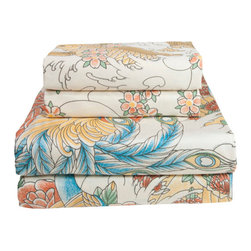 Sin in Linen - Geisha Garden Sheet Set, Twin - This beautiful tattoo print features images of coi fish, peacocks and geishas in a utopian garden of cherry blossoms. Includes 1 fitted sheet, 1 flat sheet and 1 pillowcase.