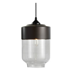 Hennepin Made - Parallel Canister Pendant Light - Give your lighting a unique, modern look with this stunningly smooth pendant light in an unexpected shape. This canister lamp is crafted from handblown glass and spun aluminum, and includes a black canopy, 40 watt bulb and four foot cord.