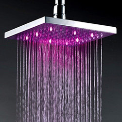 Shower Heads - 12 Inch Chrome Finish Brass Square LED Rain Shower Head--Faucetsmall.com
