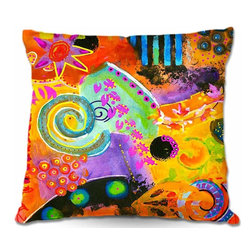 DiaNoche Designs - Pillow Woven Poplin - Crazy Abstract 1 - Toss this decorative pillow on any bed, sofa or chair, and add personality to your chic and stylish decor. Lay your head against your new art and relax! Made of woven Poly-Poplin.  Includes a cushy supportive pillow insert, zipped inside. Dye Sublimation printing adheres the ink to the material for long life and durability. Double Sided Print, Machine Washable, Product may vary slightly from image.