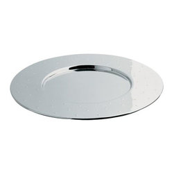 Alessi - Michael Graves Round Mat by Alessi - The Alessi Michael Graves Round Mat both protects tabletops and gives them a distinctive, gleaming metallic accent. This placemat is made out of Mirror Polished stainless steel, with a central indentation to keep plates in place. The wide border has a smattering of raised dots, adding a playful element to the otherwise sophisticated piece.Alessi, known as the Italian design factory, has manufactured household products since 1921. The stylish and fun items offered are the result of contemporary partnerships with some of the world's best designers of unique and modern home accessories.The Alessi Michael Graves Round Mat is available with the following:Details:Made of 18/10 stainless steelMirror Polished finishDesigned by Michael Graves, 1992Shipping:In Stock items ship within 1 business day. Others usually ship within 2 weeks unless otherwise noted.