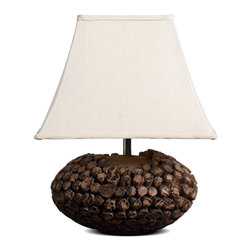 Large Square Bell Shade Country Style Wooden Table Lamp - This table lamp is piled up with short wood on a large piece of solid wood to ellipse shape, makes steady base. Large trapezoid fabri lamp shade gives you more warm lights. It is stylish for your home decoration.