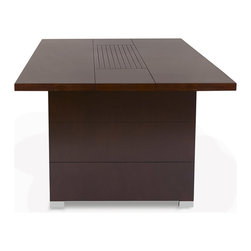 Zuri Furniture - Ford Executive Conference Table - Rectangle - The larger size of our Ford Conference table still retains all of our beautiful detailing and refinements plus delivers your office a deluxe meeting space. Seats 6 comfortably.