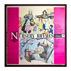 """Glittered Nursery Rhyme Album - Glittered record album. Album is framed in a black 12x12"""" square frame with front and back cover and clips holding the record in place on the back. Album covers are original vintage covers."""