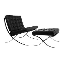Catalan Chair and Ottoman in Black - There's nothing more old Hollywood than a cool black leather chair to recline in. Kick your feet up and have a glass of red wine while you catch up on the movies of long ago.