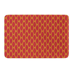 """KESS InHouse - Nandita Singh """"Marsala & Mustard"""" Red Pattern Memory Foam Bath Mat (24"""" x 36"""") - These super absorbent bath mats will add comfort and style to your bathroom. These memory foam mats will feel like you are in a spa every time you step out of the shower. Available in two sizes, 17"""" x 24"""" and 24"""" x 36"""", with a .5"""" thickness and non skid backing, these will fit every style of bathroom. Add comfort like never before in front of your vanity, sink, bathtub, shower or even laundry room. Machine wash cold, gentle cycle, tumble dry low or lay flat to dry. Printed on single side."""