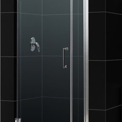 DreamLine - DreamLine SHDR-20317210-04 Unidoor 31 to 32in Frameless Hinged Shower Door, Clea - The Unidoor from DreamLine, the only door you need to complete any shower project. The Unidoor swing shower door combines premium 3/8 in. thick tempered glass with a sleek frameless design for the look of a custom glass door at an amazing value. The frameless shower door is easy to install and extremely versatile, available in an incredible range of sizes to accommodate shower openings from 23 in. to 61 in.; Models that fit shower openings wider than 31 in. have an adjustable wall profile which allows for width or out-of-plumb adjustments up to 1 in.; Choose from the many shower door options the Unidoor collection has to offer for your bathroom renovation. 31 - 32 in. W x 72 in. H ,  3/8 (10 mm) thick clear tempered glass,  Chrome, Brushed Nickel or Oil Rubbed Bronze hardware finish,  Frameless glass design,  Width installation adjustability: 31 - 32,  Out-of-plumb installation adjustability: Up to 1 in. one side (total 1 in.),  Self-closing solid brass wall mount hinges,  Door opening: 24 in.,  Stationary panel: 6 in.,  Reversible for right or left door opening installation,  Material: Tempered Glass, Brass