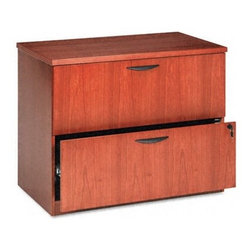 "Basyx - Veneer Two-Drawer Locking Lateral File with Beaded Edge Detail - Your office. This is the place where you want to provide an organized environment for both you and your employees to be as productive as possible. Basyx maintains a wide product line with matching pieces for the office so you can create the perfect business setting. Beaded edge detailing provides a classy, clean look for any office. Outfit your company with the Basyx - Simple, Clear, Easy. Features: -Available in bourbon cherry or mahogany finish. -Hardwood veneer multi-step finishing process. -Attractive wood finish and beaded edge detail. -Hang-rails are included in each file drawer for side-by-side letter or legal filing and for front-to-back letter filing. -File drawers operate on ball-bearing suspension with full extension. -Features locking drawers and counterweight mechanism . -Removable top allows unit to be used under a shell or freestanding . -Drawer pulls standard in black . -Shipped assembled. -Performance backed by a 5 year warranty. Specifications: -Approximate Weight: 153 lbs. -Overall dimensions: 29"" H x 36"" W x 24"" D."