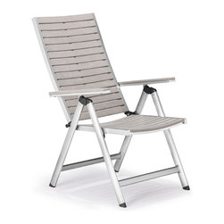 ZUO VIVA - Urban Reclining Chair Gray - The Urban Reclining chair has a sturdy epoxy coated aluminum frame and a slatted faux wood top.