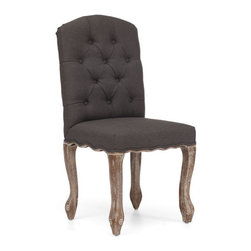 Zuo Era - Noe Valley Chair, Charcoal Gray - Elegance meets comfort in the Noe Valley Chair. This chair features button-tufted beige upholstery for a comfortable and stylish seat. This gorgeous French inspired design compliments any dining table for a modern or vintage feel.