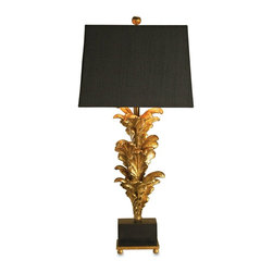 Currey and Company - Renaissance Table Lamp - Reproductions of architectural elements create a unique large scale lamp with a lot of presence. Renaissance has a black linen shade with a gold lining for enhanced lighting.