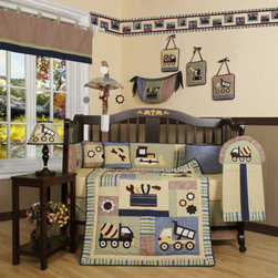 "Geenny - Boutique Baby Boy Constructor 13 Piece Crib Bedding Set - This listing is for a 13 piece beautiful Geenny brand new crib set with all the bundle you will need. This set is made to fit all standard cribs and toddler beds. The whole set comes with 10 pieces plus 3 new wall art decor hangings, which comes out as a total 13 piece bundle. The set is made by Geenny Designs, well known as Nursery Series Products Designs. All bundled pieces are in a brand new zippered, handled carrying bag. Dress up and decorate your baby's room with this beautiful 13 piece crib bedding set. Features: -Set includes: Crib quilt, two valances, skirt, crib sheet, bumper, diaper stacker, toy bag, two pillows, three wall hangings. -Material: 65 / 35 Percent of Polyester / Cotton. -Crib quilt: 45"" H x 36"" W. -Crib bumper: 10"" W x 158"" D. -Fitted crib sheet: 52"" H x 28"" W. -Window valances: 16"" H x 58"" W. -Crib skirt: 28"" H x 52"" W. -Toy bag: 20"" H x 14"" W. -Decorative accent pillows: 10"" H x 10"" W. -Machine washable."