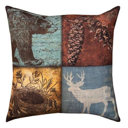 "Manual - Pair of ""Cabin Sweet Cabin"" Deer / Bear Print Indoor / Outdoor Throw Pillow - This pair of 18 inch by 18 inch woven throw pillows adds a wonderful accent to your home or patio. The pillows have (No Suggestions) weatherproof exteriors, that resist both moisture and fading. The pillows have a multipanel woodland cabin print on both the fronts and backs. They have 100% polyester stuffing. These pillows are crafted with pride in the Blue Ridge Mountains of North Carolina, and add a quality accent to your home. Original artwork by Stephanie Workman Marrott. They make great gifts for campers and cabiners alike."