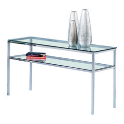 Basett Mirror - Entertainment Console (T1792-590) - The Patinoire Entertainment Console Table (Chrome Finish) has the following features: