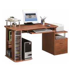 Techni Mobili - Techni Mobili Multifunction Computer Desk in Mahogany - Multifunction Computer Desk in Mahogany by Techni Mobli This Techni Mobili Multifunction Computer Desk balances a spacious work surface with ample storage in a contemporary design made with heavy-duty engineered wood panels with a moisture resistant PVC laminate veneer. It features a hanging file drawer, an elevated accessory shelf above the file drawer, an elevated accessory shelf, a large slide-out storage drawer with a safety stop, and 2 small adjustable shelves. The desktop has an 80 lb weight capacity, the hanging file drawer has a 22 lb weight capacity, the accessory shelf above the file drawer has a 30 lb weight capacity, the glass accessory shelf has a 22 lb weight capacity, and the keyboard shelf has a 30 lb weight capacity. COLOR: Mahogany.  Desk (1)