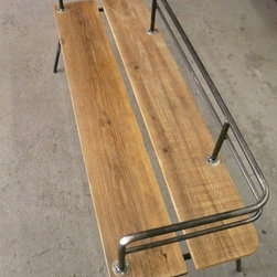 Panka Indoor/Outdoor Bench by filos - I love the rustic-industrial look of the reclaimed wood seat paired with recycled steel on this truly unique bench.