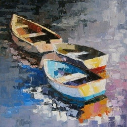 """Boat/13"" (Original) By Kim Mcaninch - Boat/13 Is Part Of A Continuing Series By Professional Artist, Kim Mcaninch.  The Art Is 18"" X 18"" Oil On .75"" Stretched Canvas.  The Edges Are Painted Grey And It Comes Wired And Ready To Hang.  Certificate Of Authenticity Included."