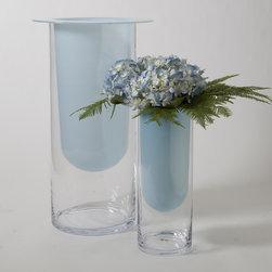 Opaline Blue or White Cylinder Vase - Handblown Glass Vase Made in Poland