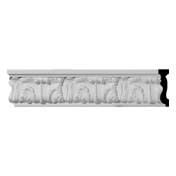 """Ekena Millwork - 3 1/2""""H x 1""""P x 96""""L Odessa Chair Rail - Beautiful crown moulding is a great way to separate and define each room. With each design modeled after traditional plaster type mouldings, our lightweight polyurethane mouldings give the same rich detail, yet at a fraction of the cost. Most moulding profiles can be partnered with our do-it-yourself corner blocks that means no miter cutting for you, and most rooms can be completed in ours instead of days. Another benefit of polyurethane is it will not rot or crack, and is impervious to insect manifestations. It comes to you factory primed and ready for your paint, faux finish, gel stain, marbleizing and more."""