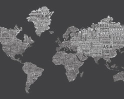 "1-World Text Map Wall Mural - Inverse Grey - Wallpaper - 3 panel - 107 x 57"" - A modern and bold new world map! The 1-World Text Map Wall Mural features the continents of the world filled with the text of the country, city and place names, making it a modern and unique decorative map for your home or office. Available in several different sizes in a standard wet strength wall paper."