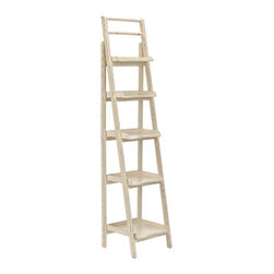 Safavieh Furniture - Leaning Etagere in Distressed Ivory Finish - Stylish lightly distressed buttery off-white finish. No assembly required. 16.5 in. W x 15 in. D x 71.5 in. H (19 lbs.)This Safavieh Walker Distressed Ivory Leaning Etagere is an instant library wherever you want one.