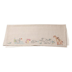 Coyuchi - Coyuci Critter Embroidered Linen Receiving Blanket - Lions and giraffes, flamingos and monkeys, hippos and more, all get along happily on our soft linen blanket. Backed with brushed cotton, it's cozy and comforting without being heavy.