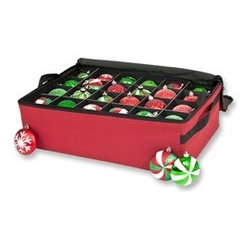 Santa's Bags 2-Tray Ornament Storage Bag - Merry and bright, our charming and dependable Santa's Bags 2-Tray Ornament Storage Bag offers ultimate protection for your favorite ornaments. Made to last season after season, this well-constructed ornament storage case safely houses up to 48 3-inch ornaments. Two removable trays with acid-free cardboard dividers make this delightful ornament storage case both versatile and convenient. All year long, you can look forward to the excitement of opening this gorgeous red polyester Christmas ornaments storage bag at the onset of the holiday season to see your treasures still in perfect condition.