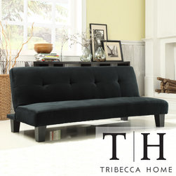 Tribecca Home - TRIBECCA HOME Bento Black Microfiber Suede Modern Mini Futon Sofa Bed - Add extra sleeping space to your living room with this comfy futon sofa bed. It can quickly fold out into a bed in seconds, so you can easily accommodate surprise house guests. It comes in a classic black that works well with most living room furniture.