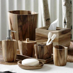 """""""Acacia"""" Wood Bath Accessories by Kassatex - Acacia Natural Wood brings Raw Beauty in an Elegant Rustic Way to your Bathroom with these Bath Accessories"""