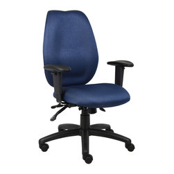 "Boss - Blue High Back Task Chair - High-back styling upholstered with commercial grade fabric. Sculptured waterfall seat made from molded foam that contours to the shape of your body. Ratchet back height adjustment allows perfect positioning of the back cushion for lumbar support. Adjustable height armrests with soft polyurethane. Width adjustable armrest allows the user to move the armrests to match shoulder breadth. Large 27"" nylon base for greater stability. Hooded double wheel casters. Pneumatic gas lift seat height adjustment. Adjustable tilt tension control. Seat tilt lock allows the seat to lock throughout the tilt range. Back angle lock allows the back to lock throughout the angle range for perfect back support."