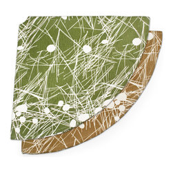 Bambeco Trail Tree Skirt - Embellished with a blanket of fallen pine needles, our treeskirt will show off your good taste and last for years to come. The random pattern of fallen leaves and pine needles on forest floor become a lively texture in the trail design when rendered in a single, bold hue.Made from 55% Hemp and 45% Certified Organic Cotton, printed with non-toxic, water-based dyes.  Printed and sewn in Los Angeles.Dimensions: 54 dia.Available colors: Moss.Care: Spot clean only.Note: Limited Quantities Available.