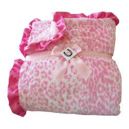 "Max Daniel Designes - Pink Leopard Washable Fur Throw/Blanket 72"" x 60"" w/Hot Pink Satin Ruffle  NEW! - Luxurious Pink Leopard Print Fur Blanket/Throw is 100% Polyester and is machine washable!"
